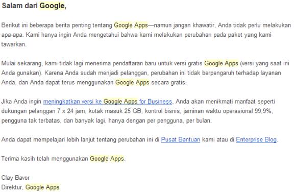 Email Pemberitahuan dari Google