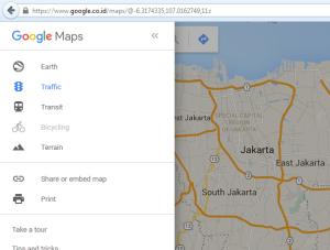 Menu Google Maps Untuk Browser